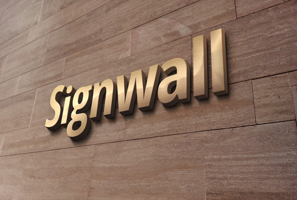 3D Luxury Gold Logo Wall Sign MockUp stock photo collection