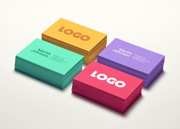 Colorful Business Card Free MockUp stock photo collection