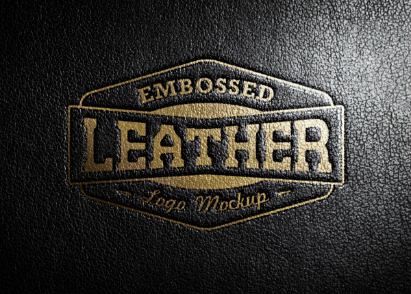 Leather Stamping Logo MockUp stock photo collection