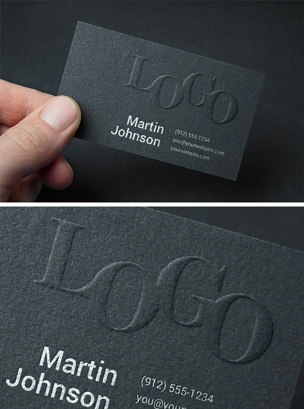 Embossed Business Card MockUp stock photo collection