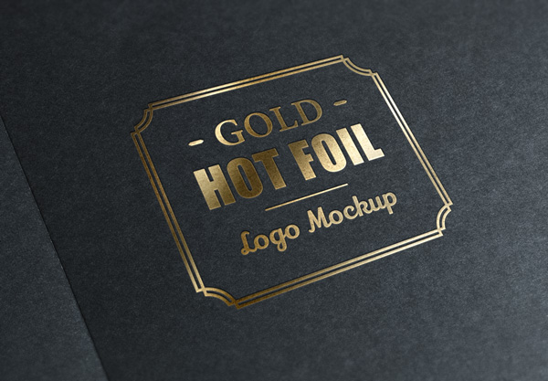 Gold Foil Logo MockUp stock photo collection