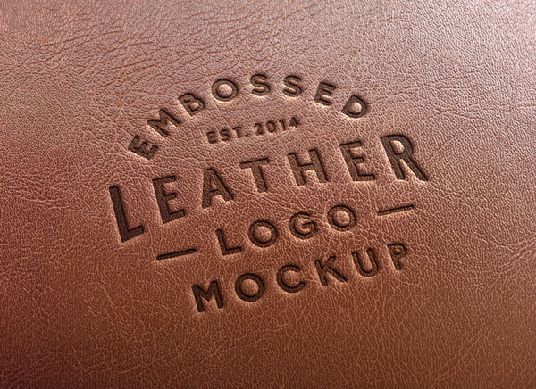 Photorealistic Leather Stamping Logo MockUp stock photo collection