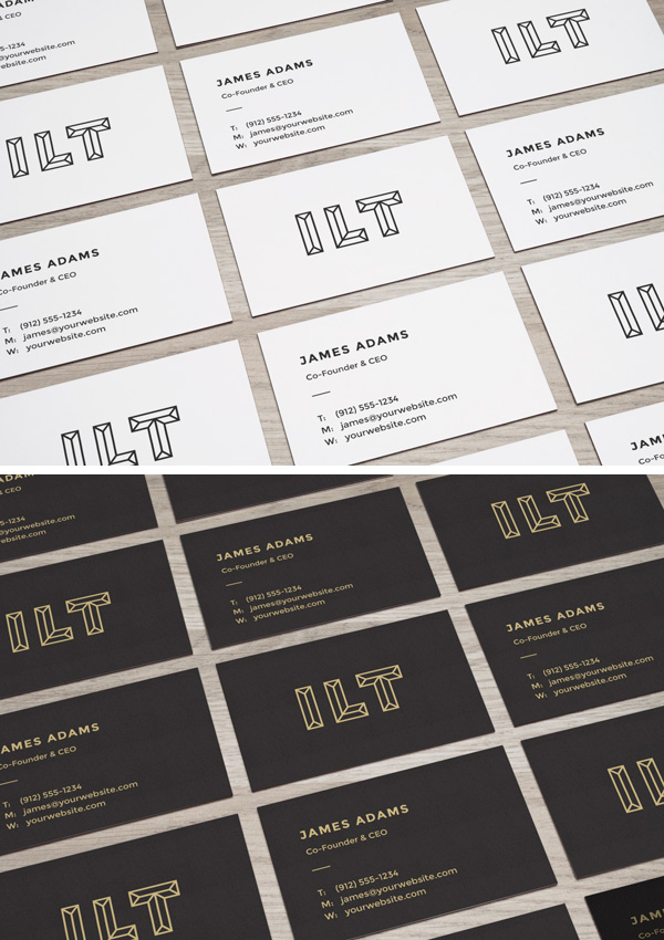 Perspective Business Cards MockUp stock photo collection