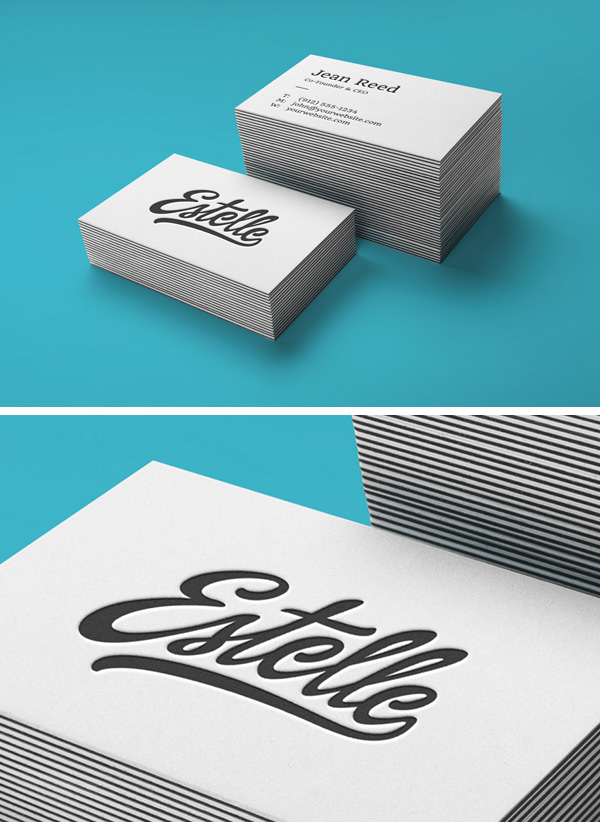 Free Stack Letterpress Business Cards MockUp