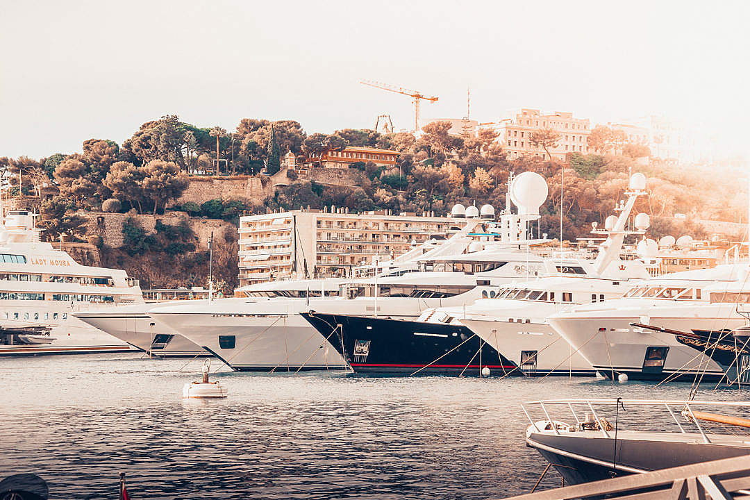 Download A Port with Yachts in Monaco FREE Stock Photo