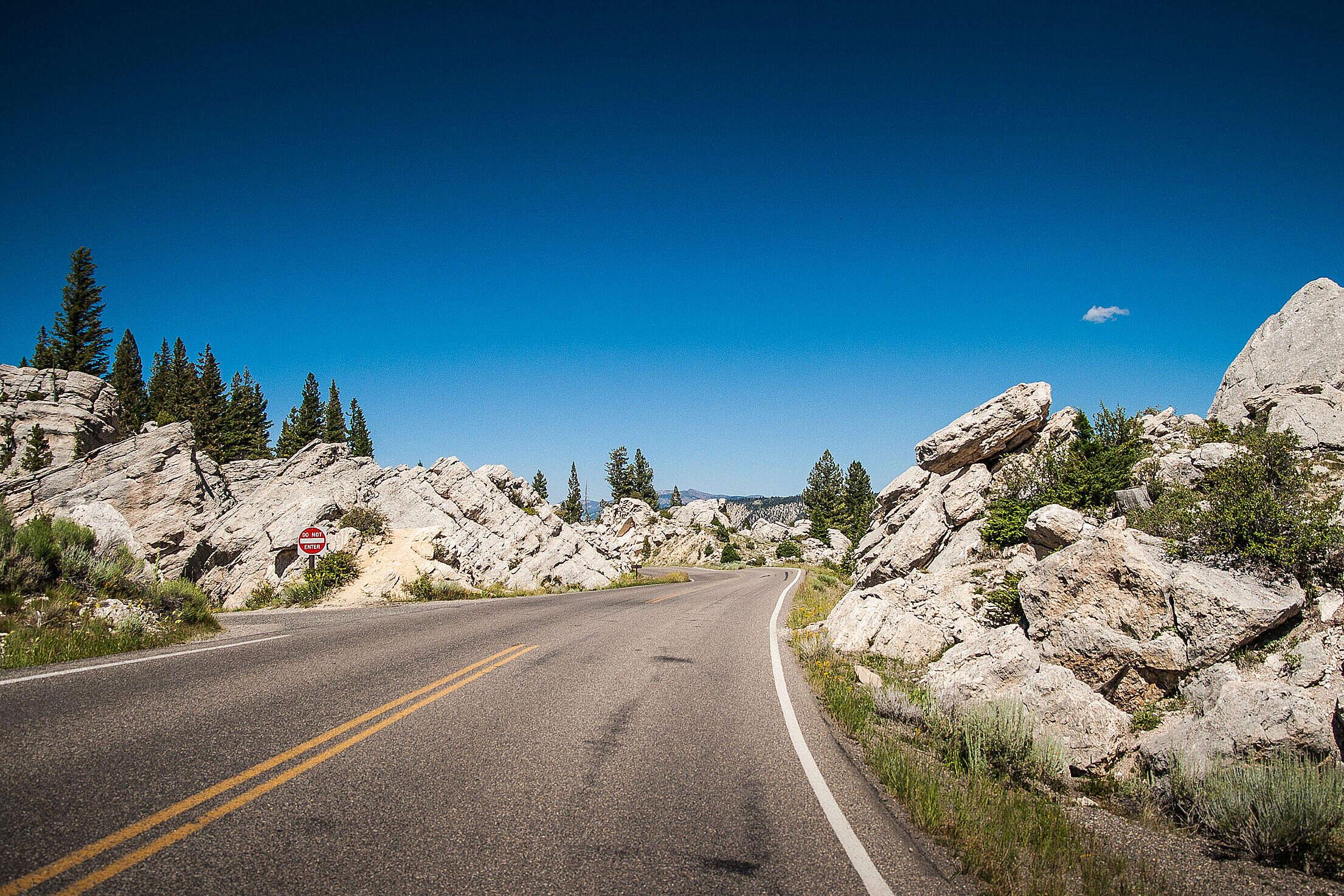 A Road Through Rocks Free Stock Photo