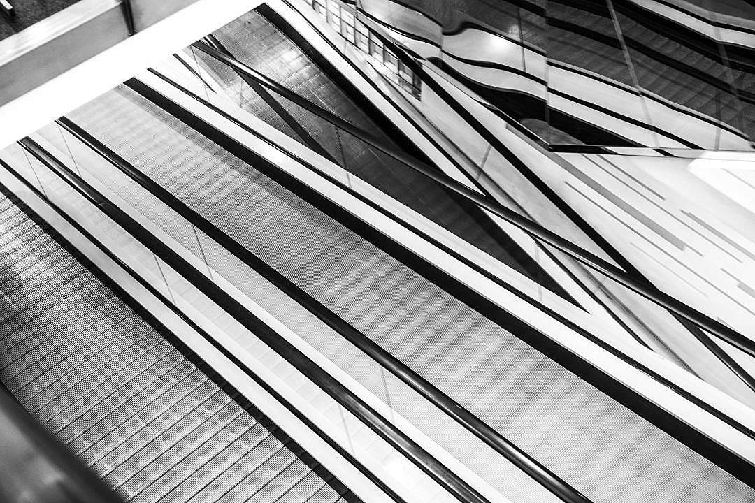 Download Abstract Black and White Geometric Background (Escalators) FREE Stock Photo