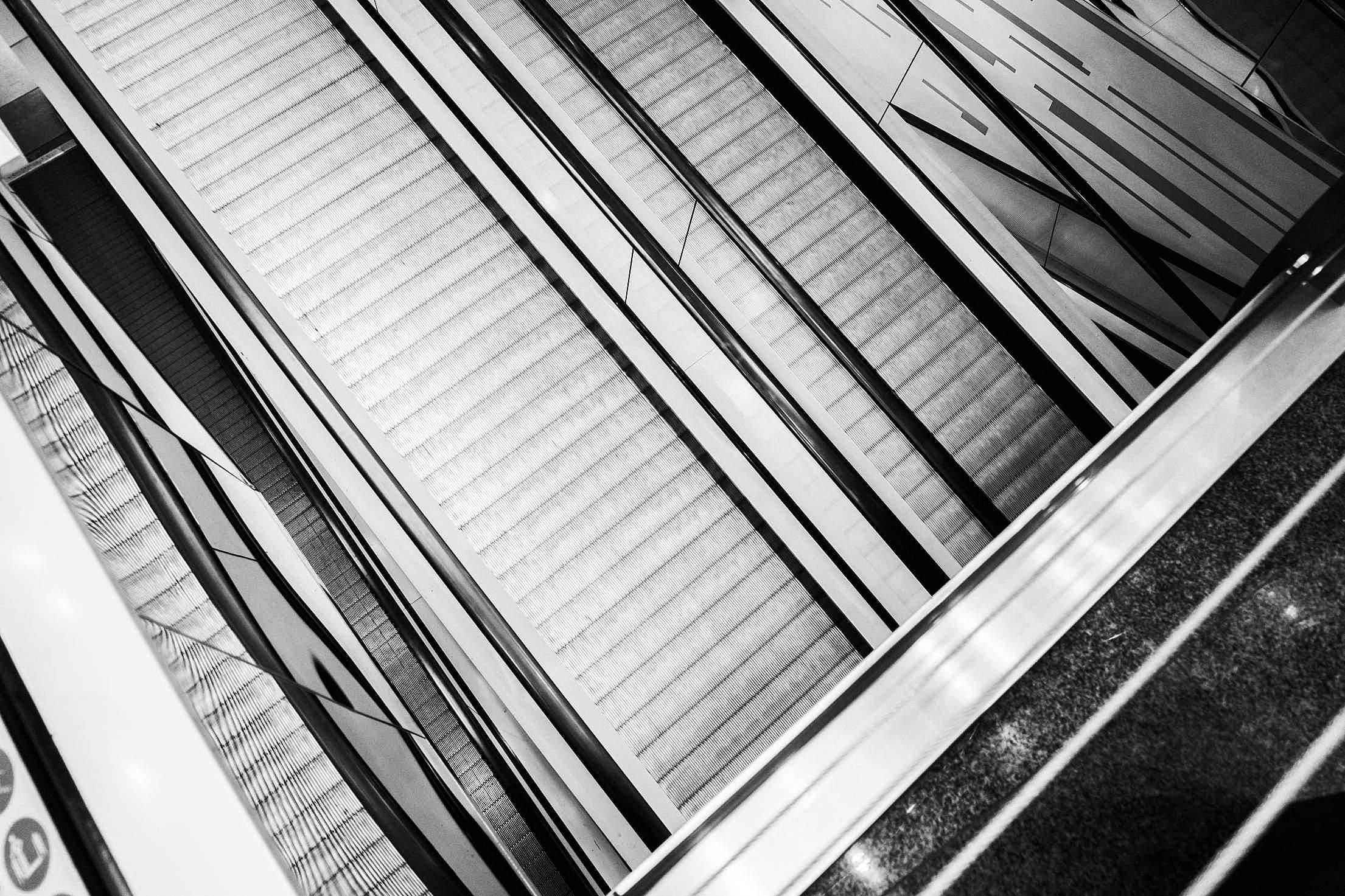 Abstract Black and White Geometric Background (Escalators) #2 Free Stock Photo