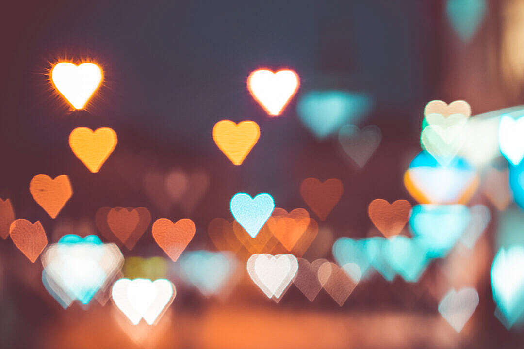 Download Abstract Bokeh Hearts Real Light FREE Stock Photo