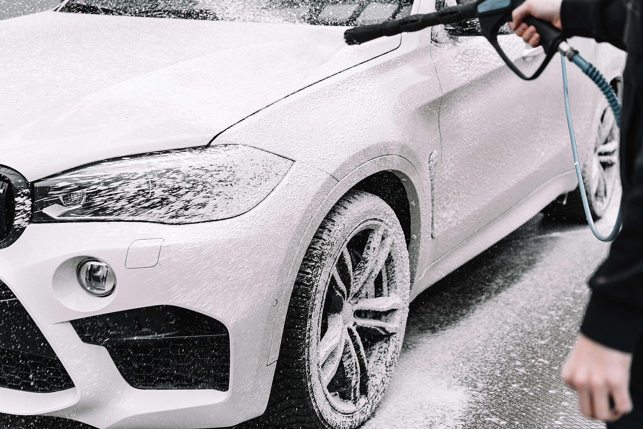 Active Foam Self Service Carwash Free Stock Photo