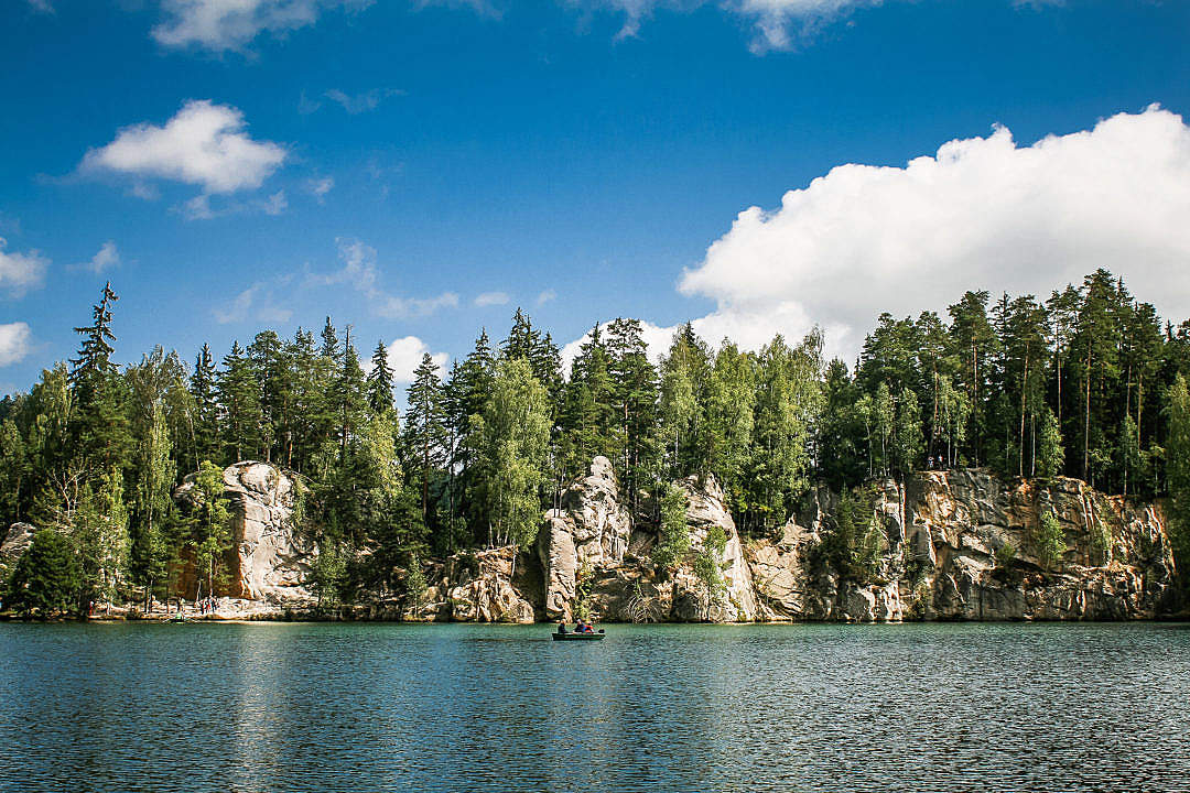 Download Adrspach-Teplice Rocks & Lake Panorama FREE Stock Photo