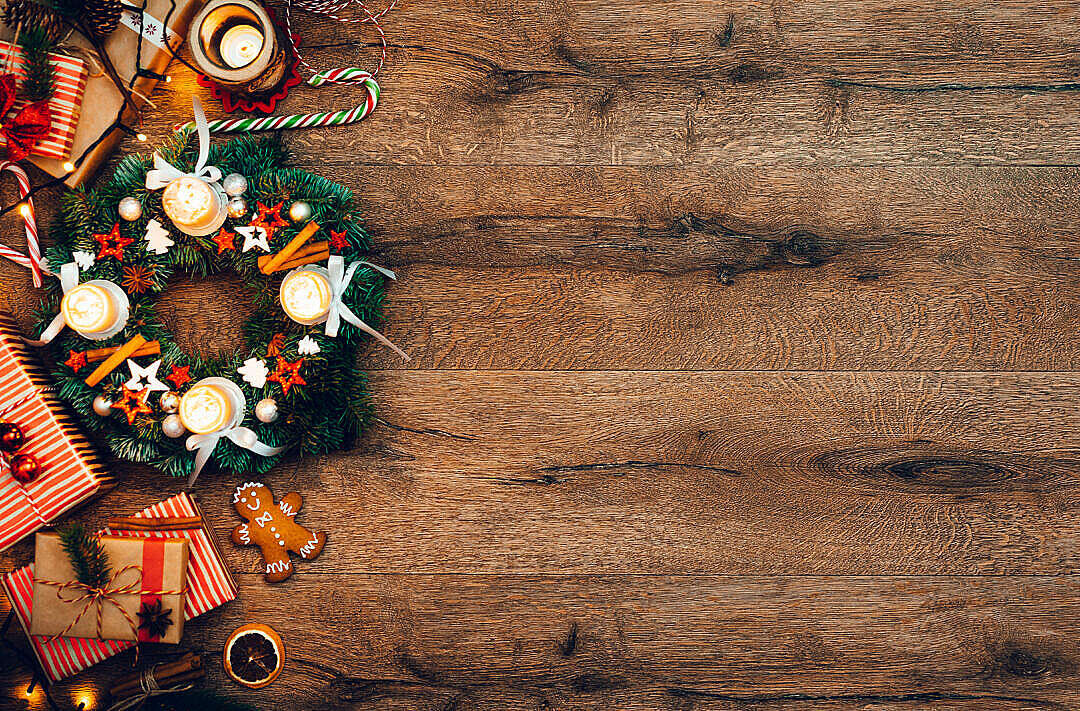 Download Advent Wreath with Gifts, Christmas Background FREE Stock Photo