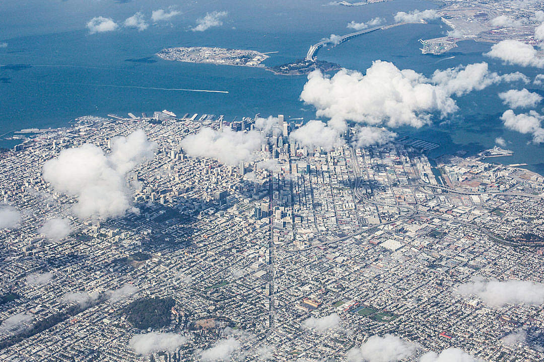 Download Aerial View of San Francisco Bay Area, California FREE Stock Photo