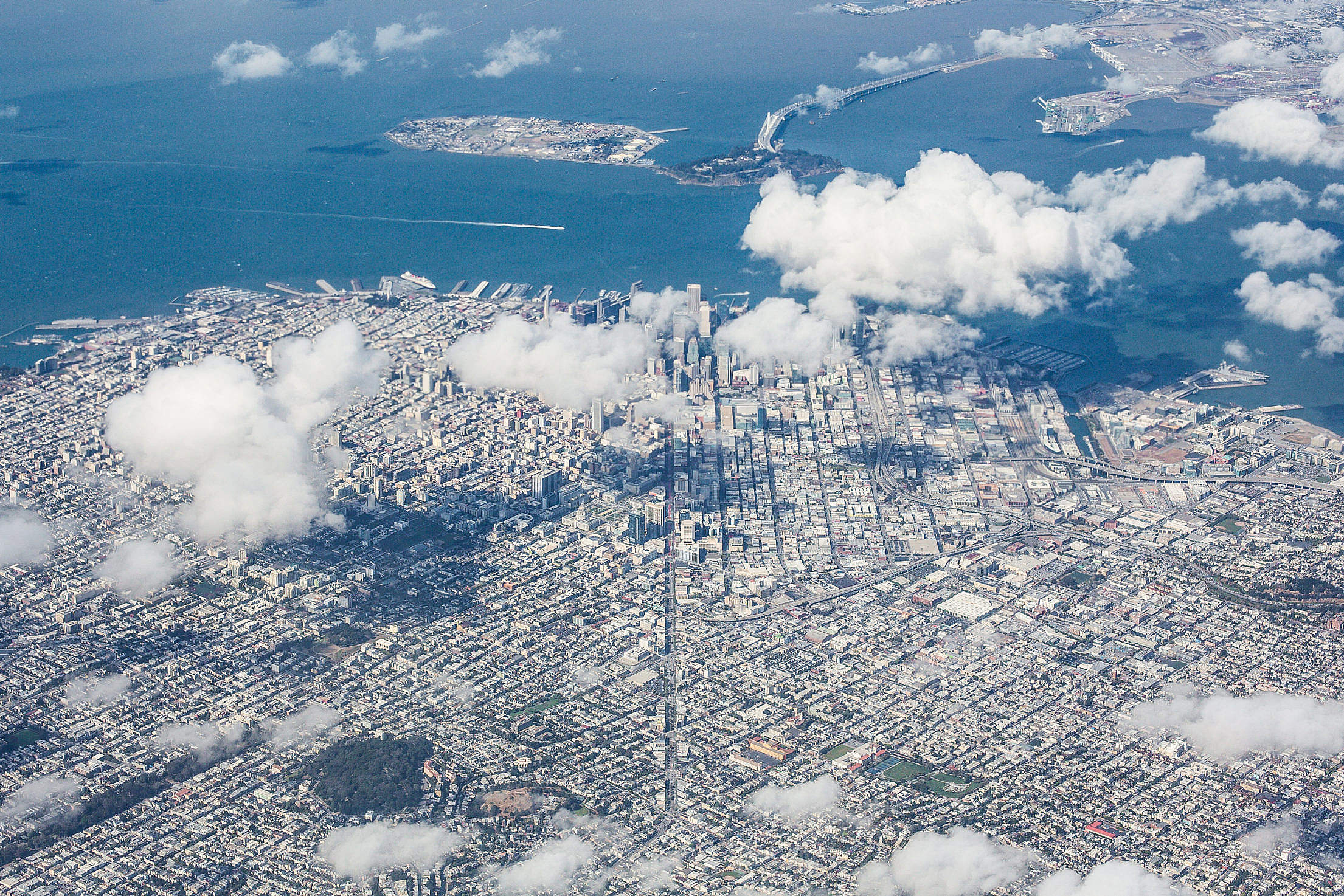 Aerial View of San Francisco Bay Area, California Free Stock Photo