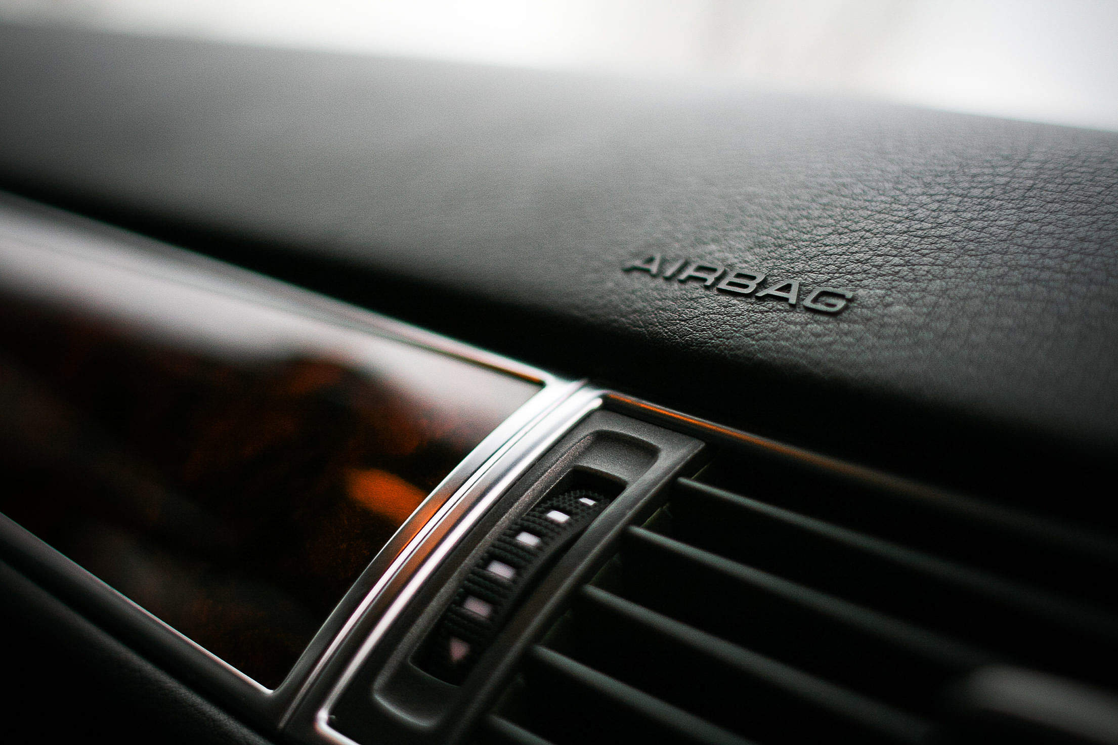 Airbag Mark on a Dashboard Free Stock Photo