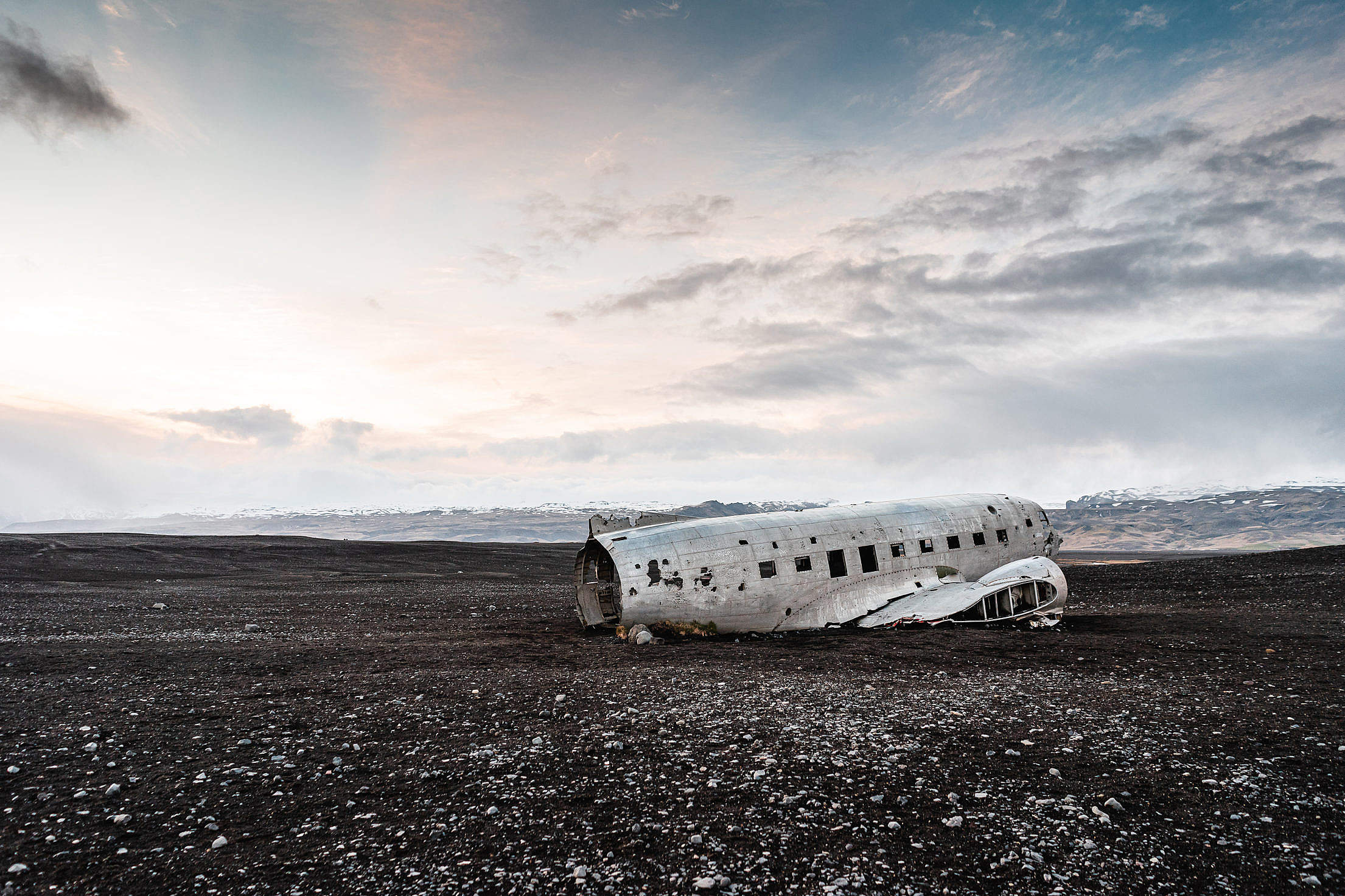 Aircraft Wreck in Iceland Free Stock Photo