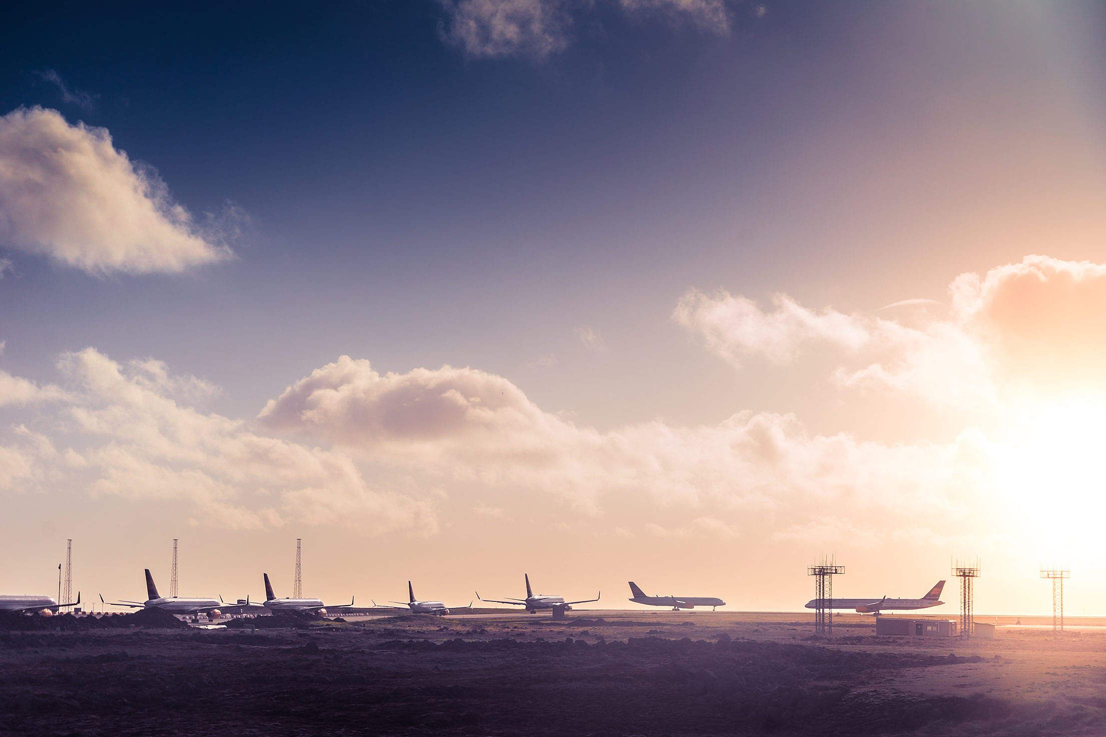 Airplane Taxiway Queue Free Stock Photo