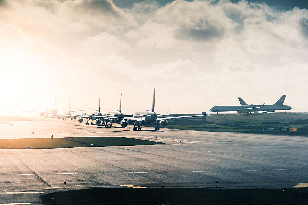 Download Airport Taxiway Long Queue of Planes FREE Stock Photo