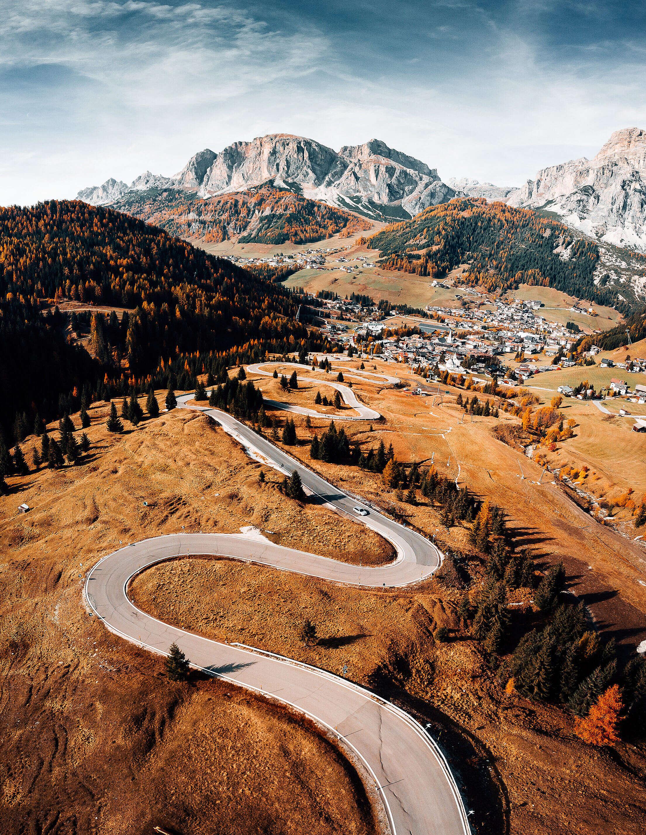 Alpine Roads in Italy Free Stock Photo