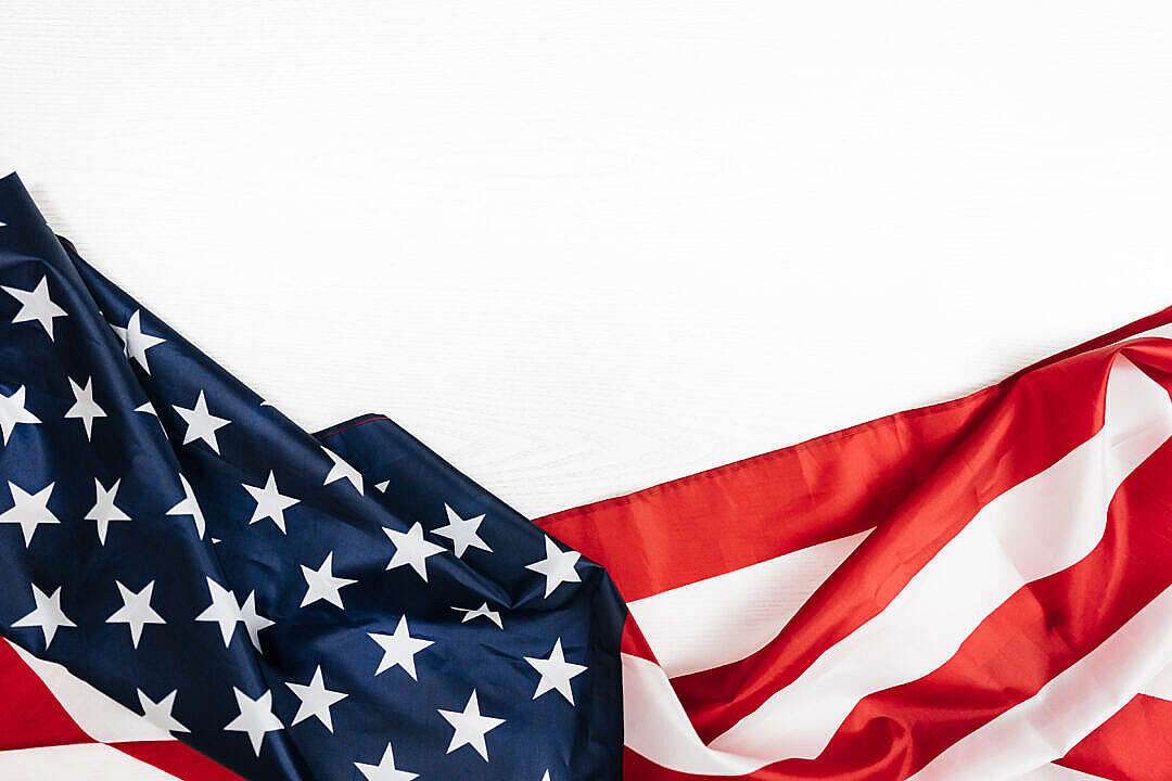 Download American Flag on a White Background FREE Stock Photo