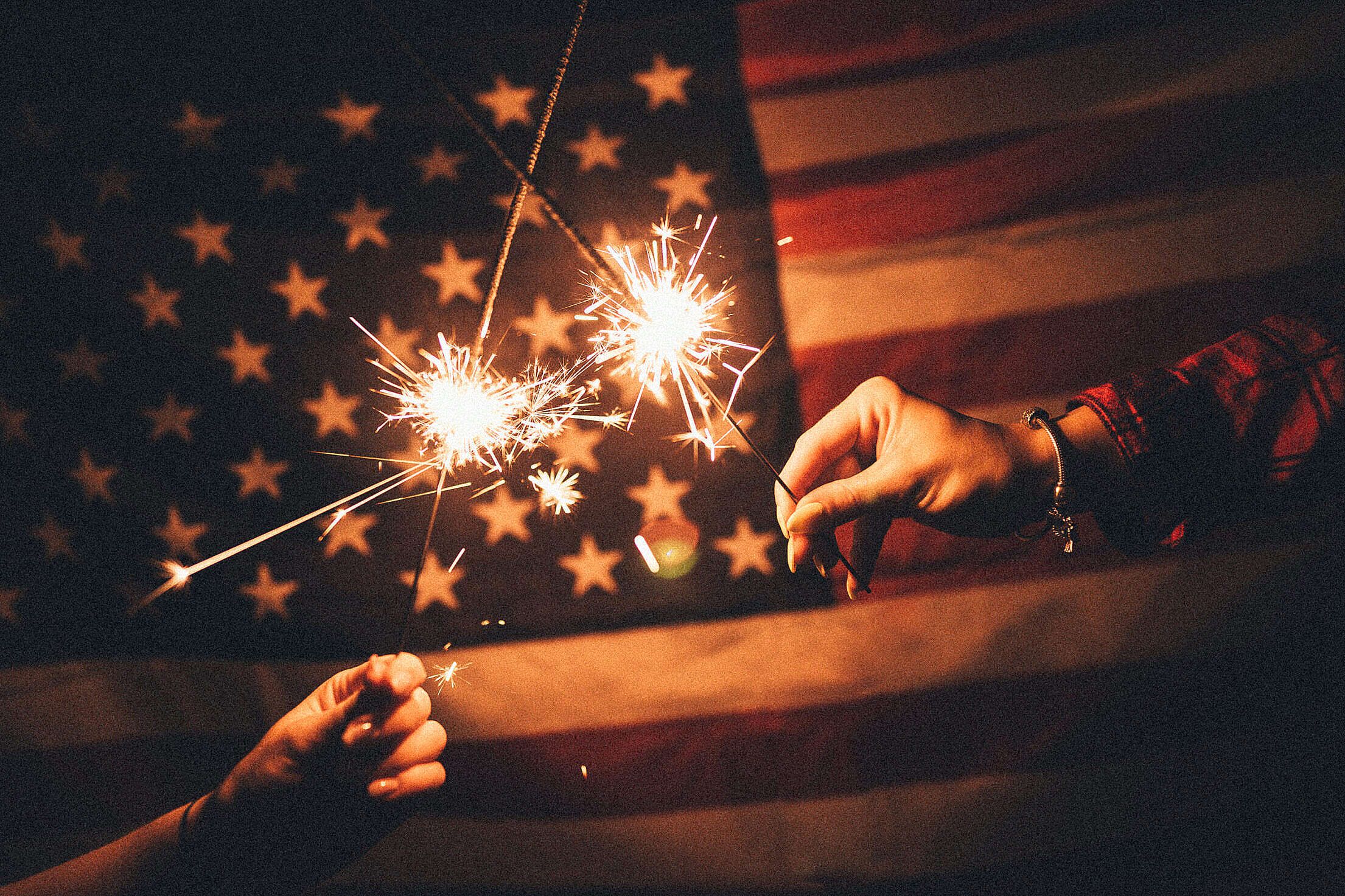American Flag with Sparklers Free Stock Photo