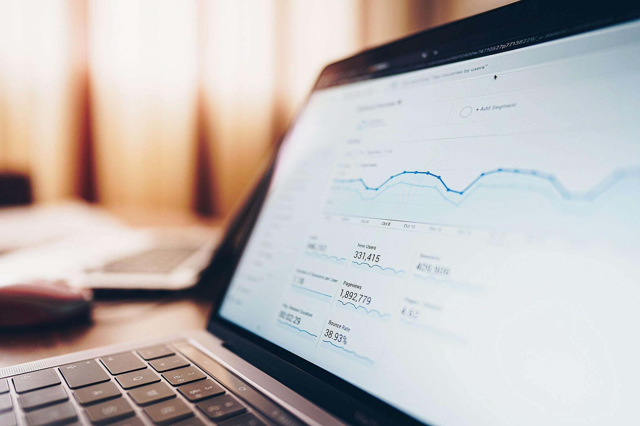 Analyzing Data in Google Analytics Dashboard Free Stock Photo
