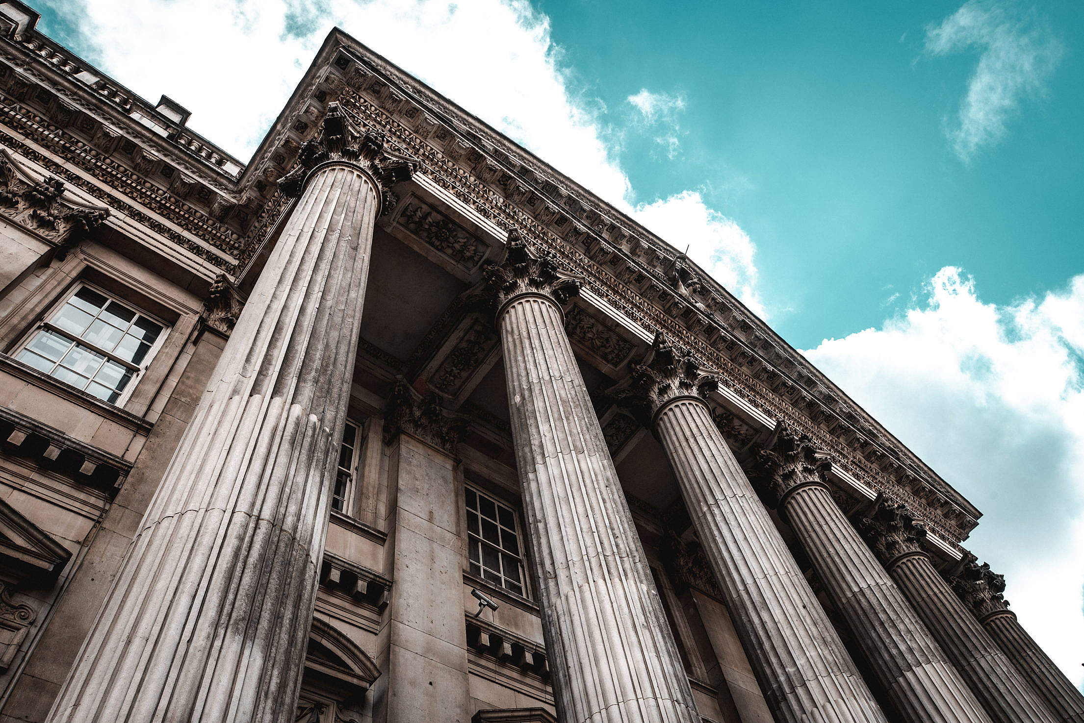 Ancient Classical Order on Historical Building in London Free Stock Photo