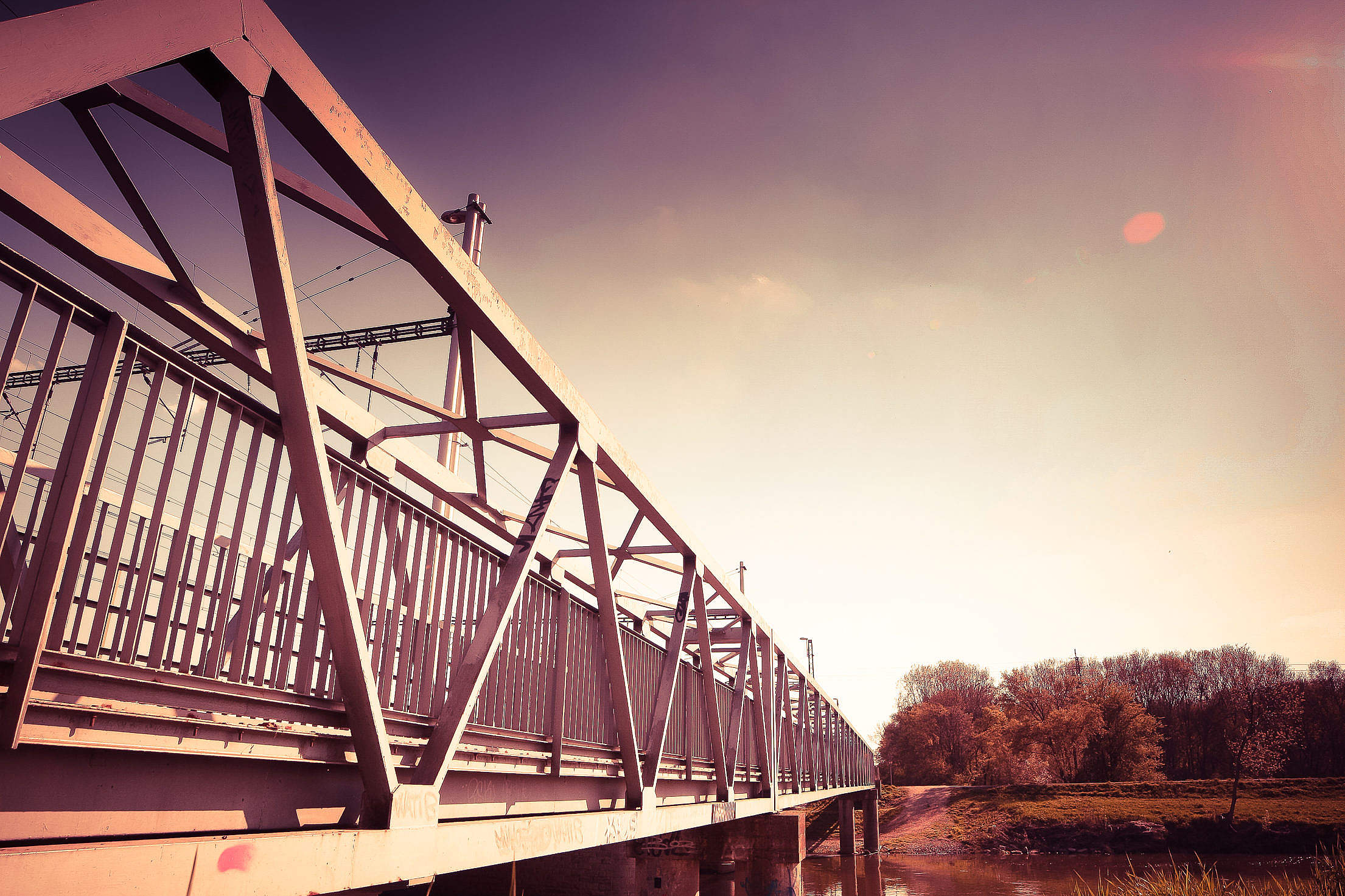 Another Edit of Steel Bridge Free Stock Photo