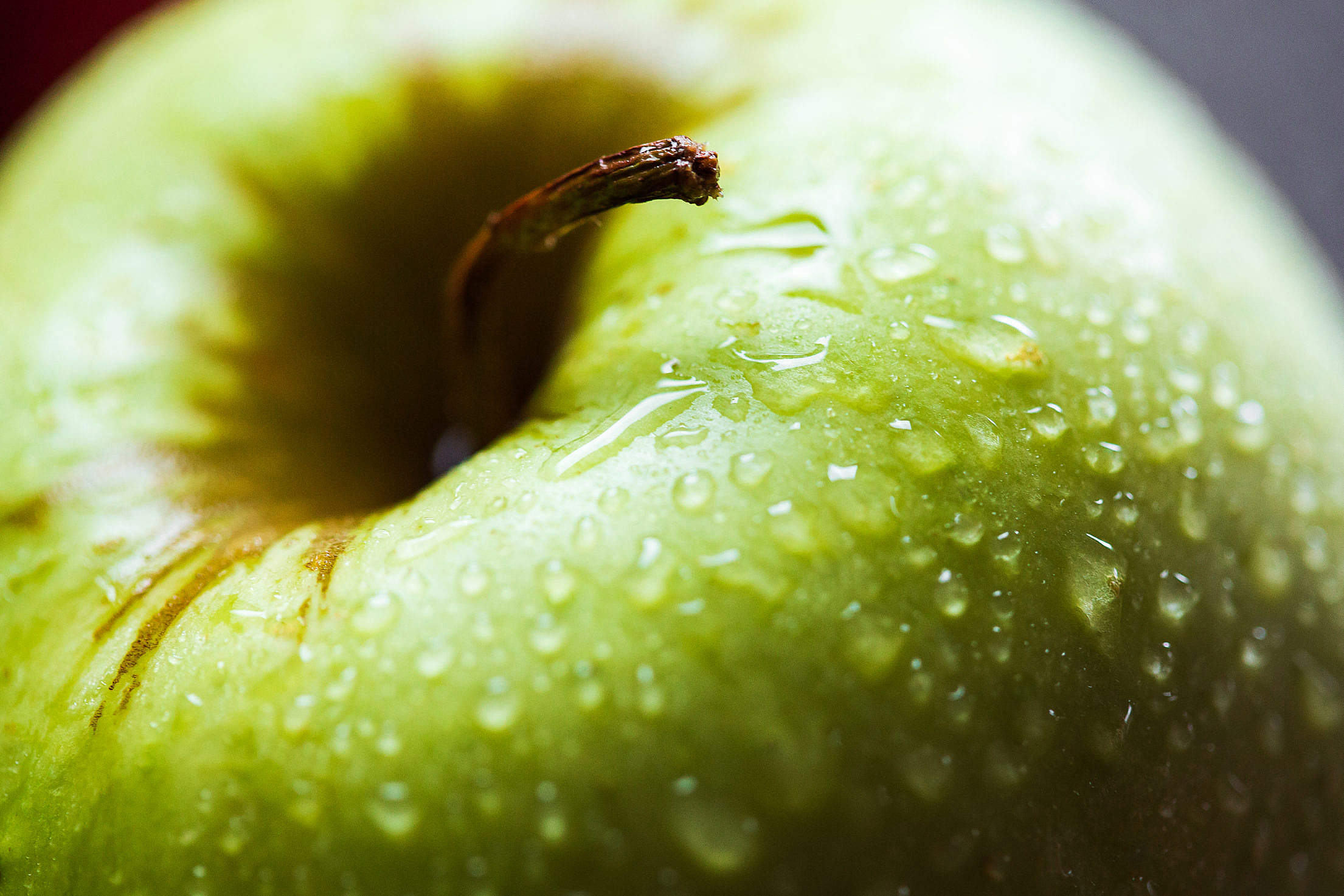 Apple Close Up Water Drops Free Stock Photo