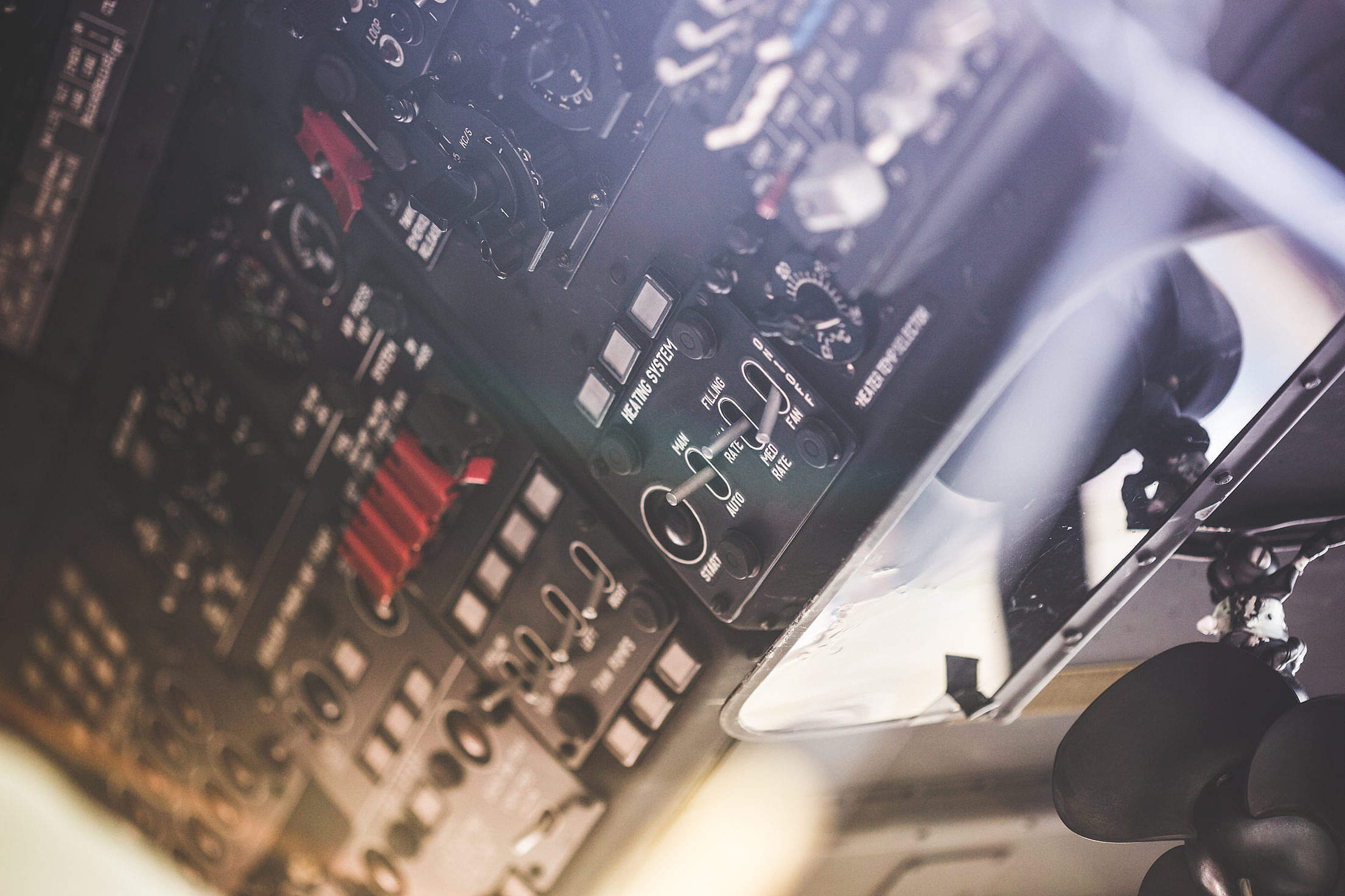 Army Helicopter Over Head Cockpit Dashboard Free Stock Photo