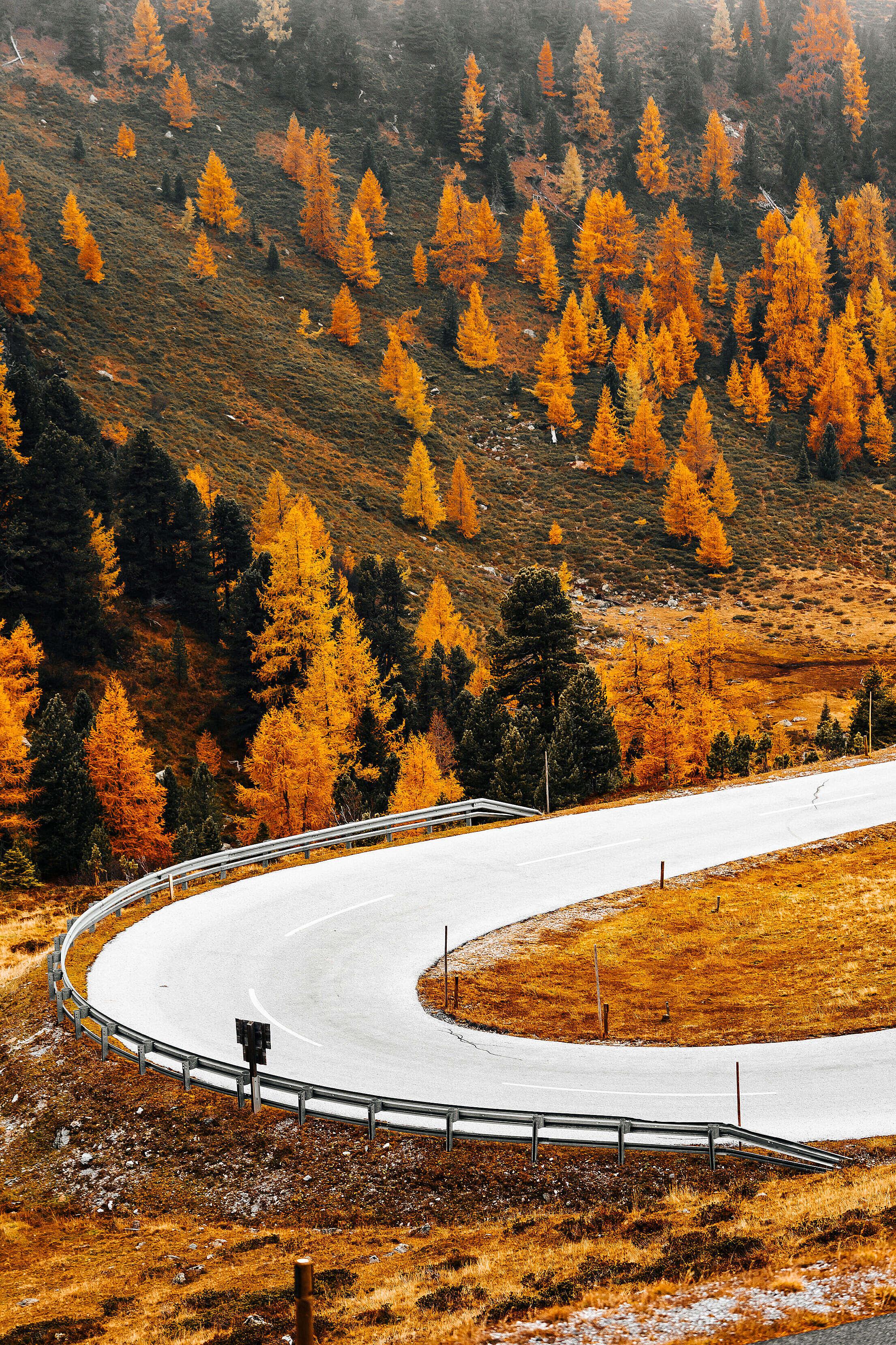 Austrian Nockalm Road in Fall Free Stock Photo