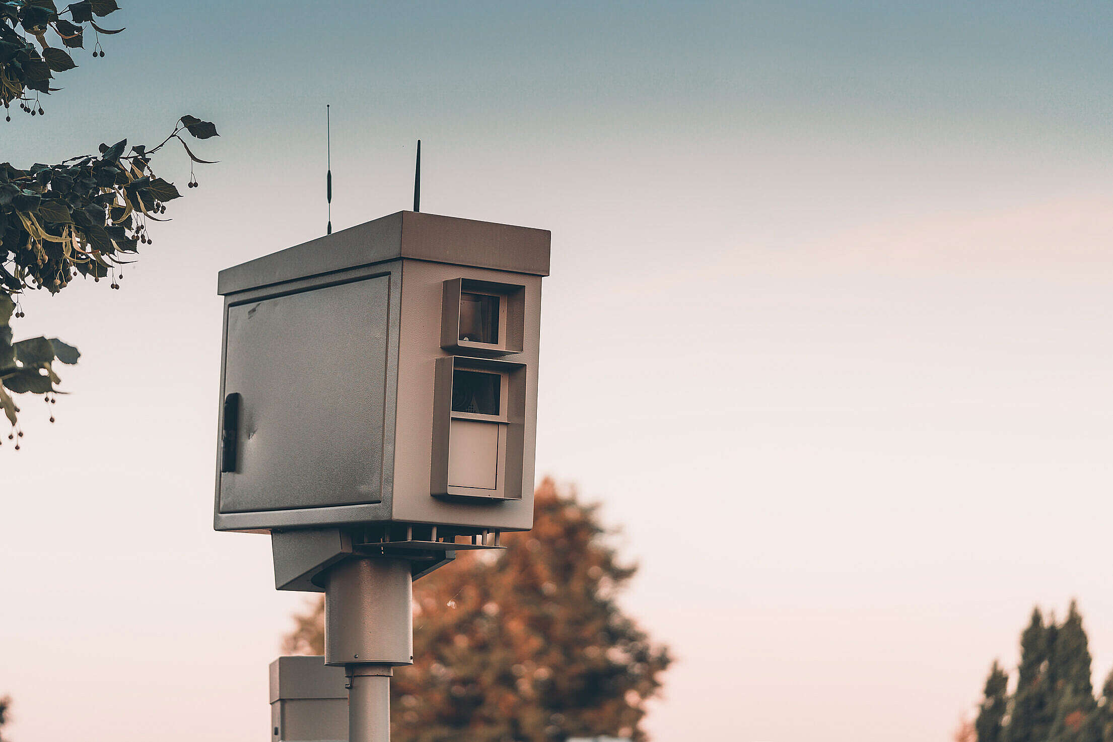 Automated Speed Enforcement Camera Radar in City Free Stock Photo