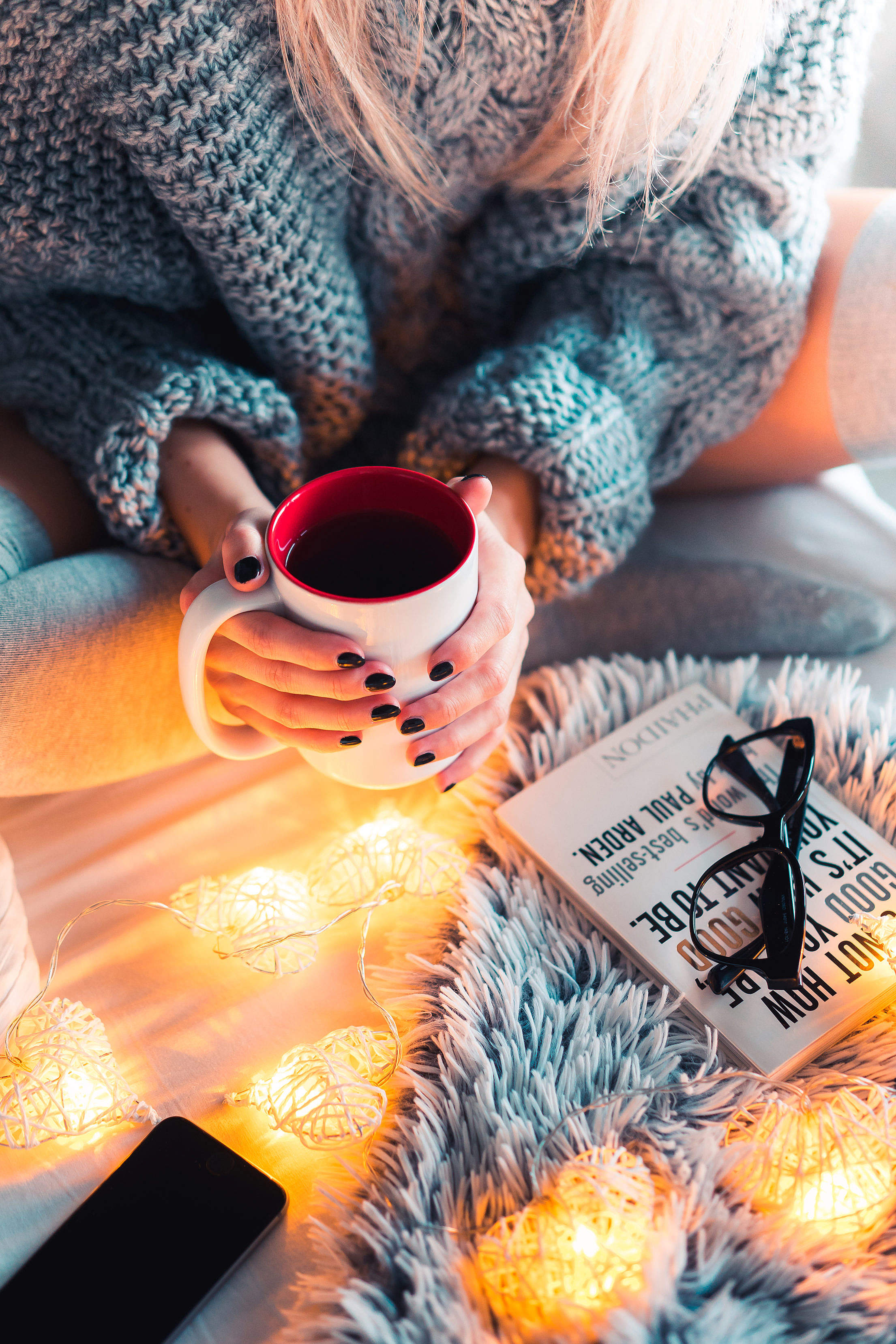 Autumn Mood with Hot Tea in Bed Free Stock Photo