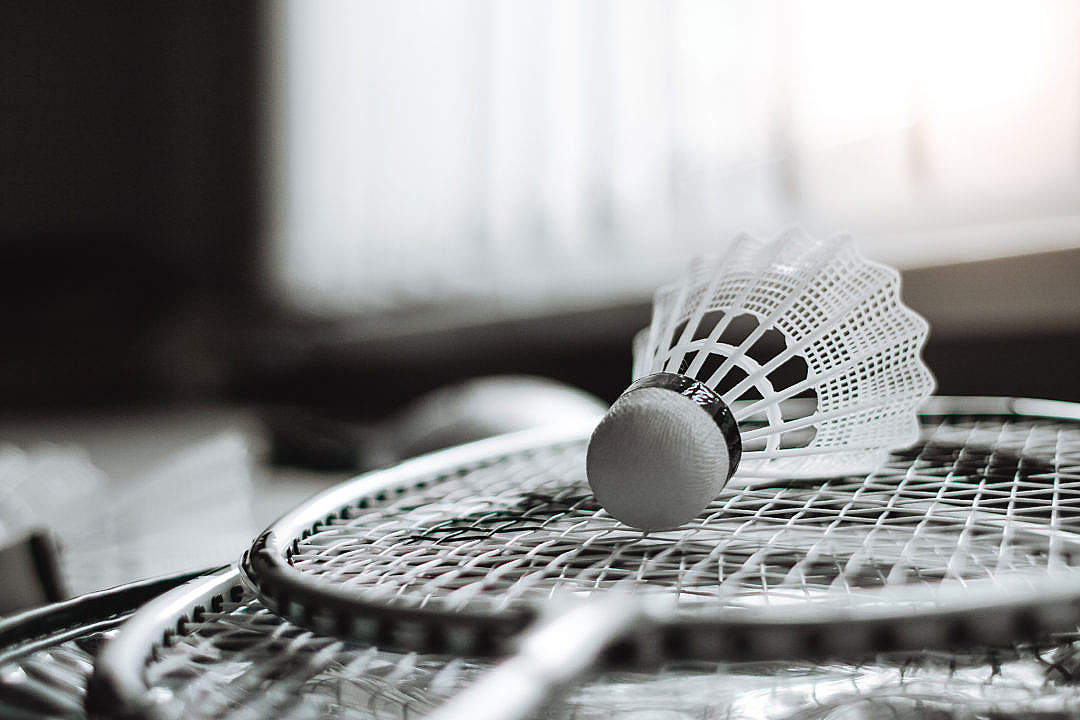 Download Badminton Racket and Shuttlecock FREE Stock Photo