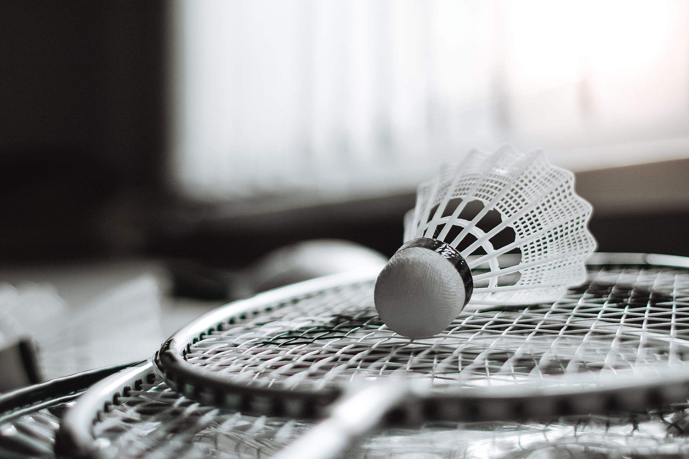 Badminton Racket and Shuttlecock Free Stock Photo