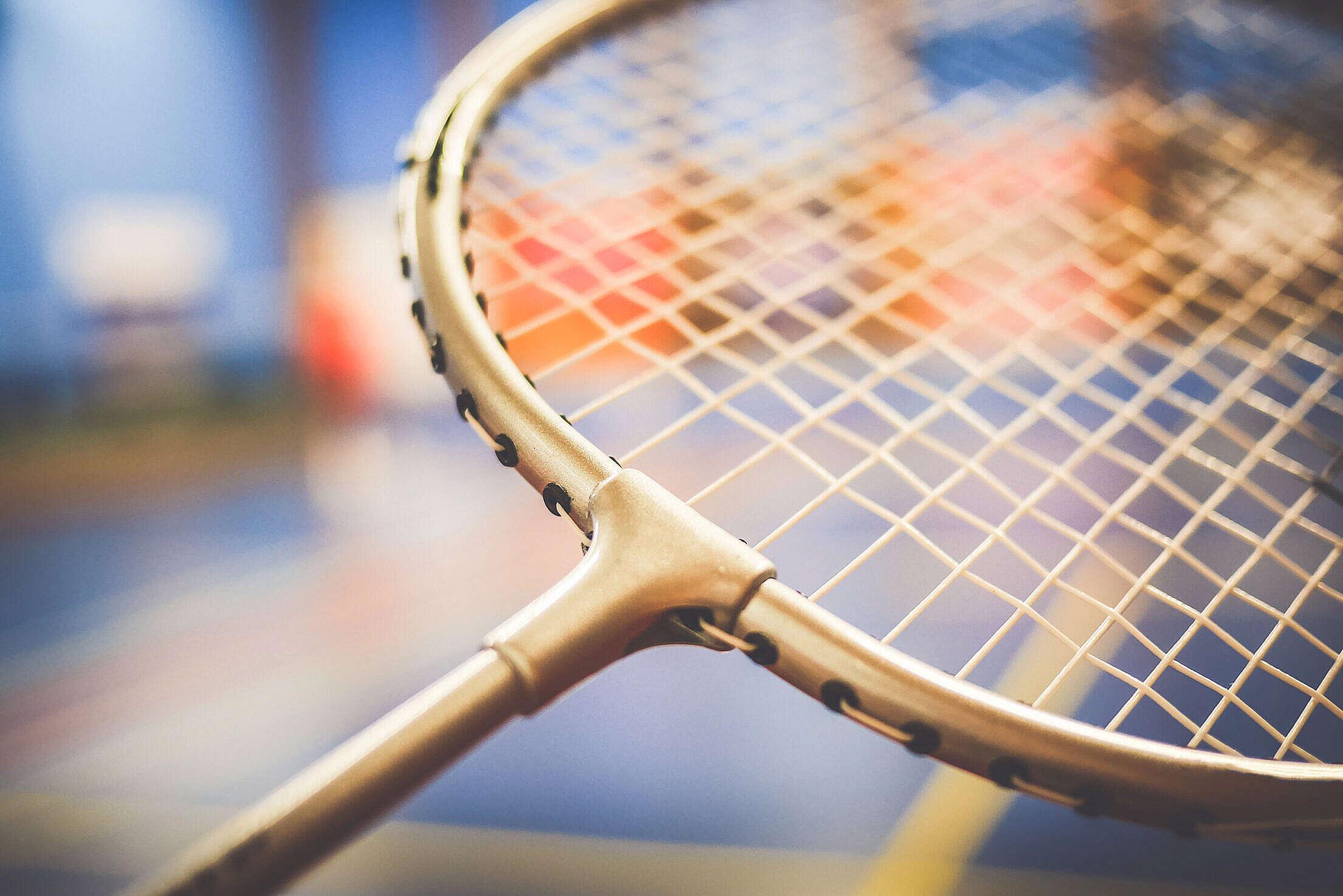 Badminton Racket Close Up Free Stock Photo