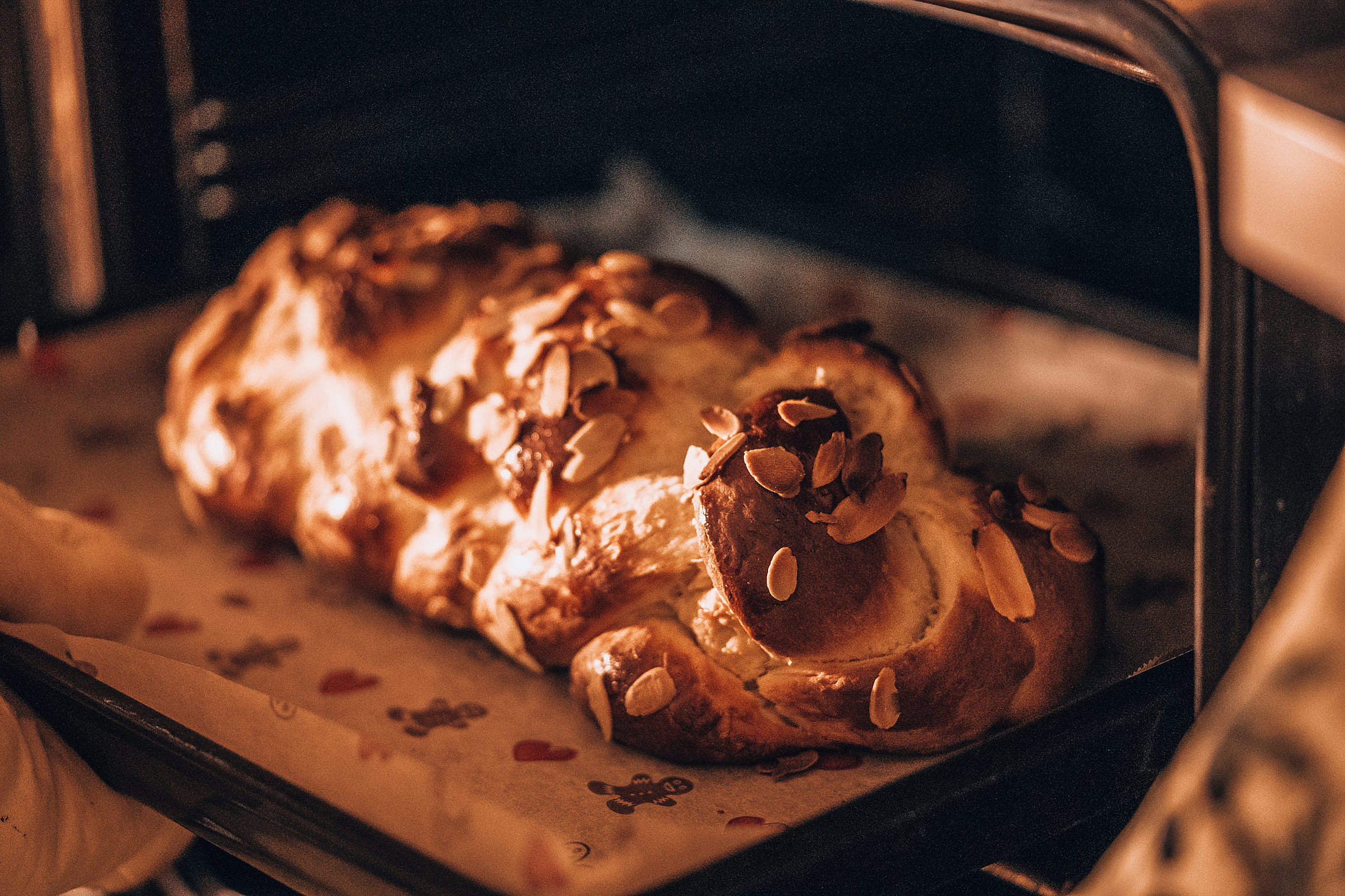 Baked Braided Sweet Bread Free Stock Photo