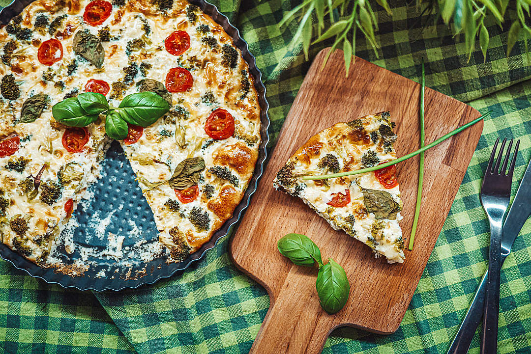 Download Baked Healthy Fitness Broccoli Pie with Basil FREE Stock Photo