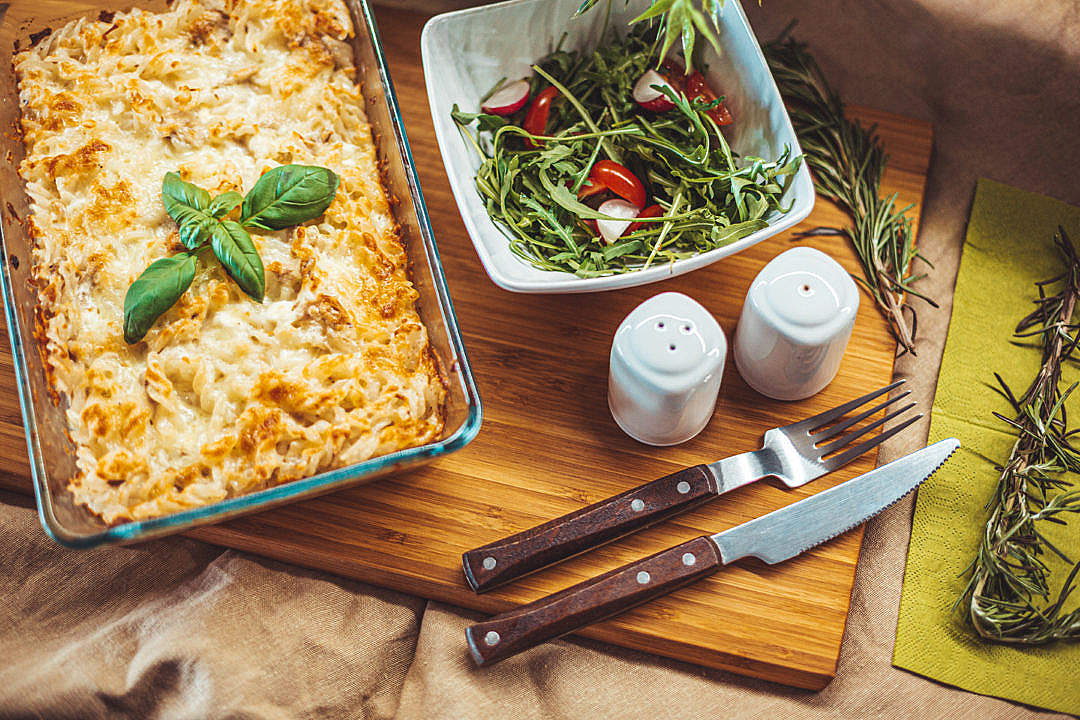 Download Baked Pasta With a Tuna and a Vegetable Salad FREE Stock Photo