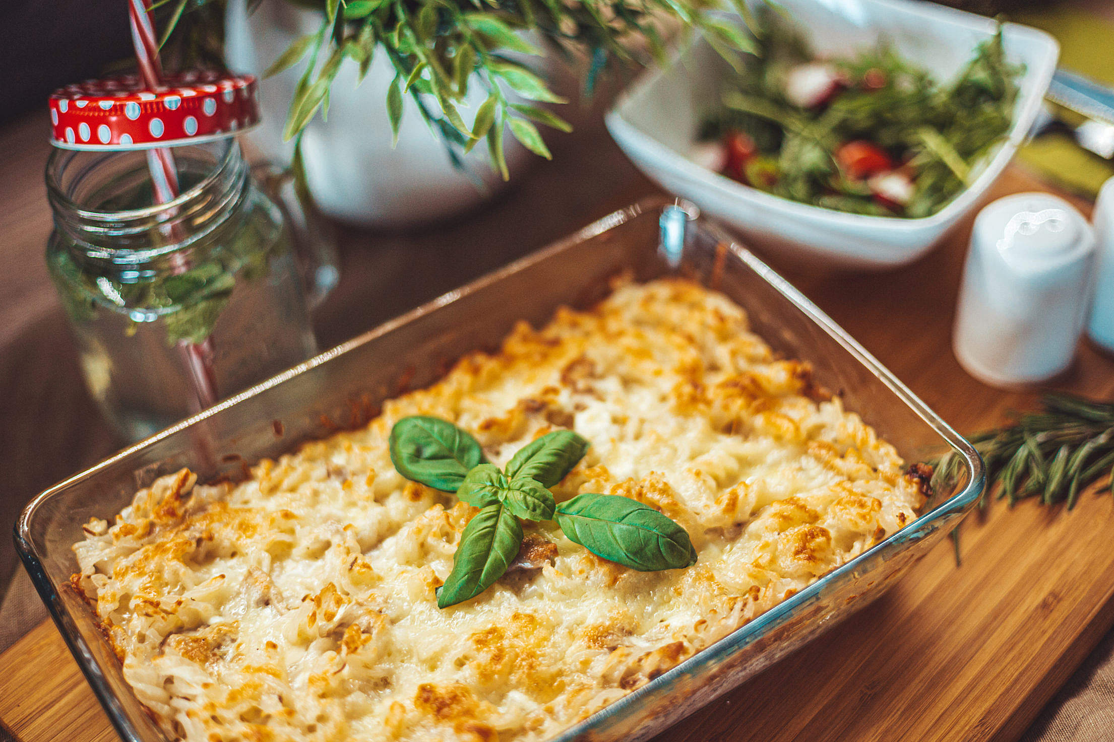 Baked Tuna Pasta in a Glass Baking Dish Free Stock Photo