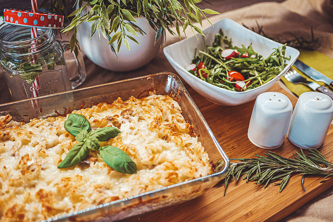 Download Baked Tuna Pasta Served with a Vegetable Salad FREE Stock Photo