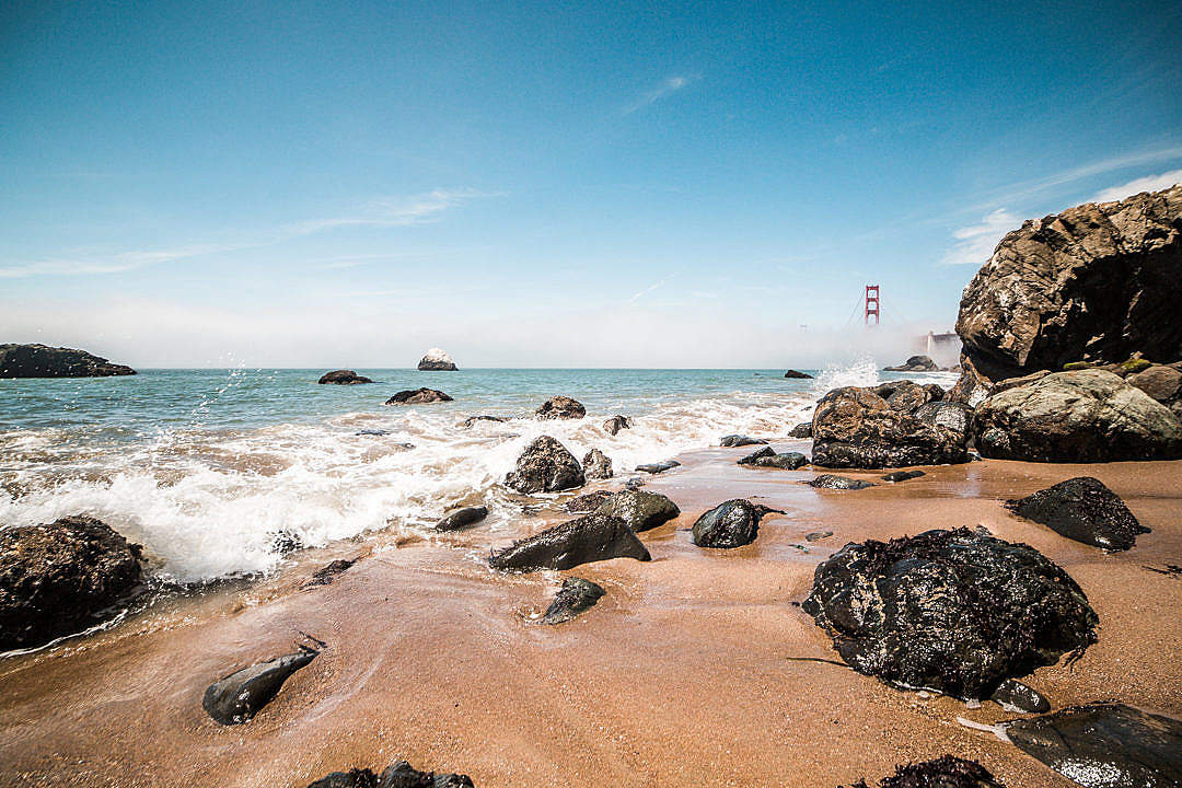Download Baker Beach with Golden Gate Bridge, San Francisco, California FREE Stock Photo