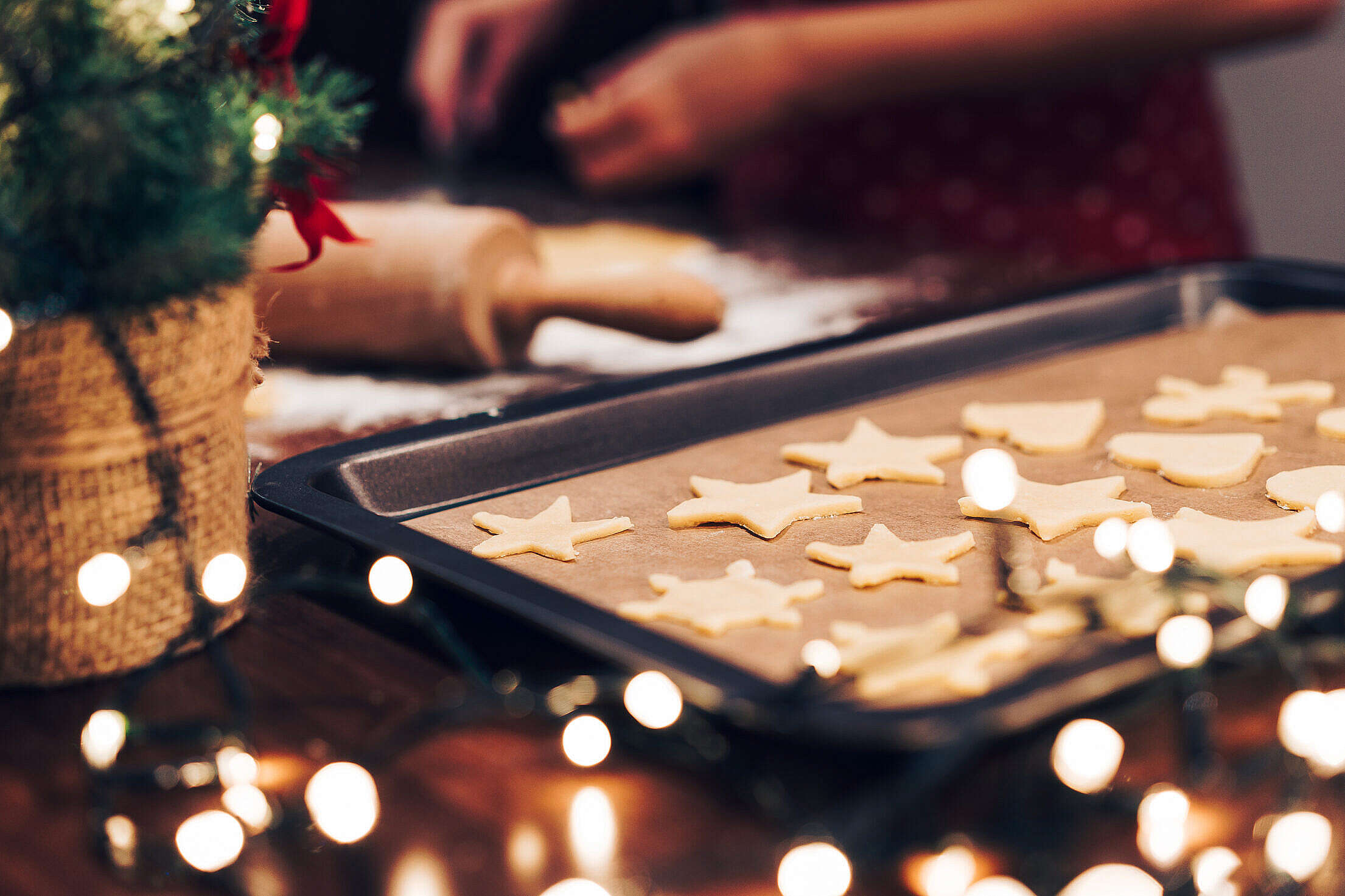 Baking Christmas Gingerbread Cookies Free Stock Photo