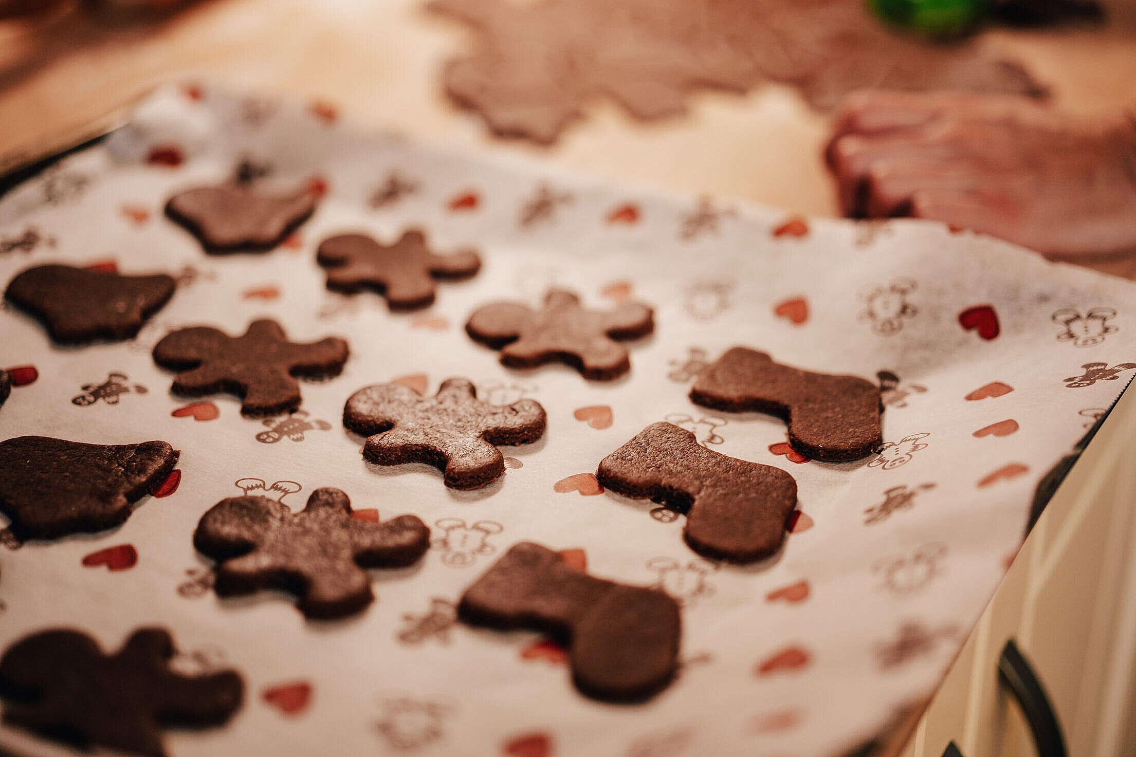 Baking Christmas Gingerbread Free Stock Photo