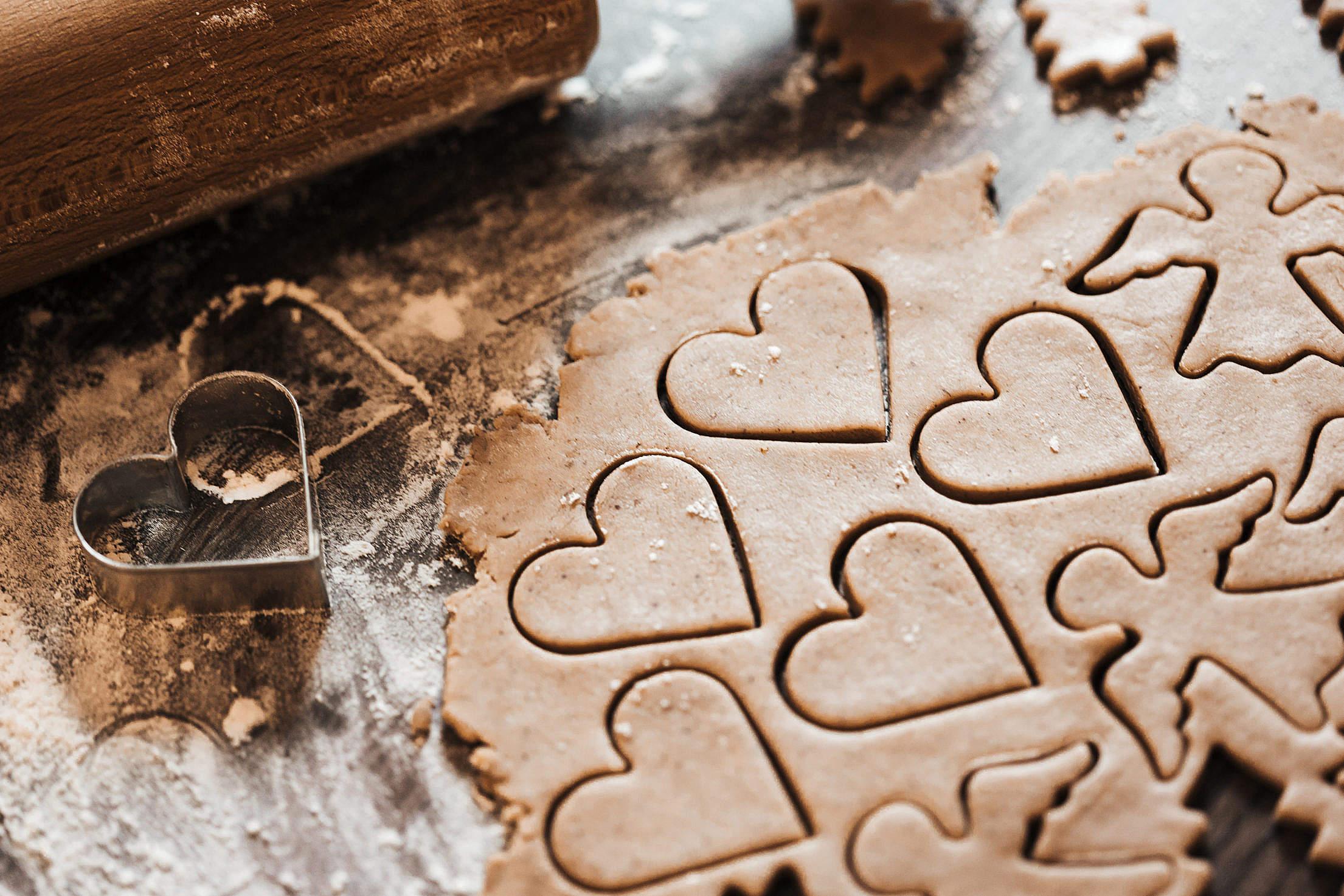 Baking Christmas Lovely Hearts Sweets Free Stock Photo