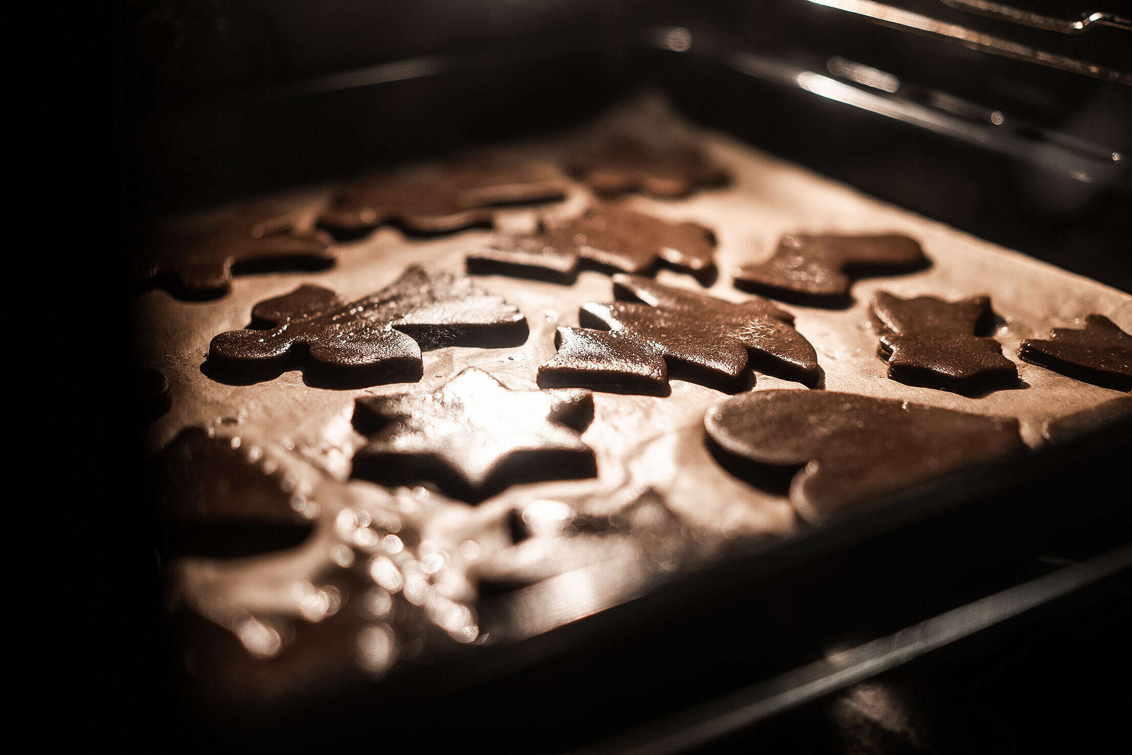 Baking Tray Full of Christmas Gingerbread Cookies Free Stock Photo