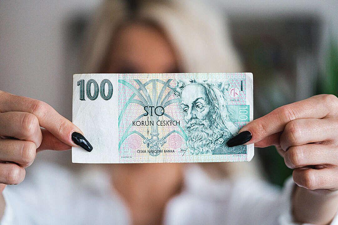 Download Banker Woman Showing 100 Czech Crowns Bank Note Česká Koruna FREE Stock Photo
