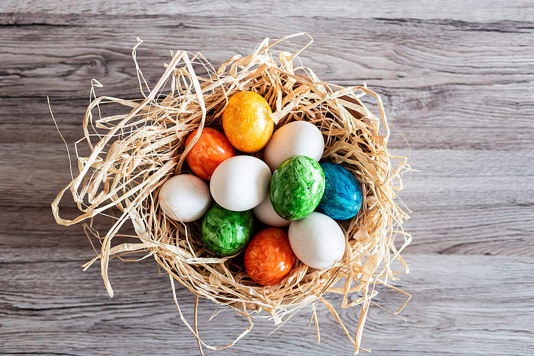 Download Basket Full of Perfect Easter eggs FREE Stock Photo