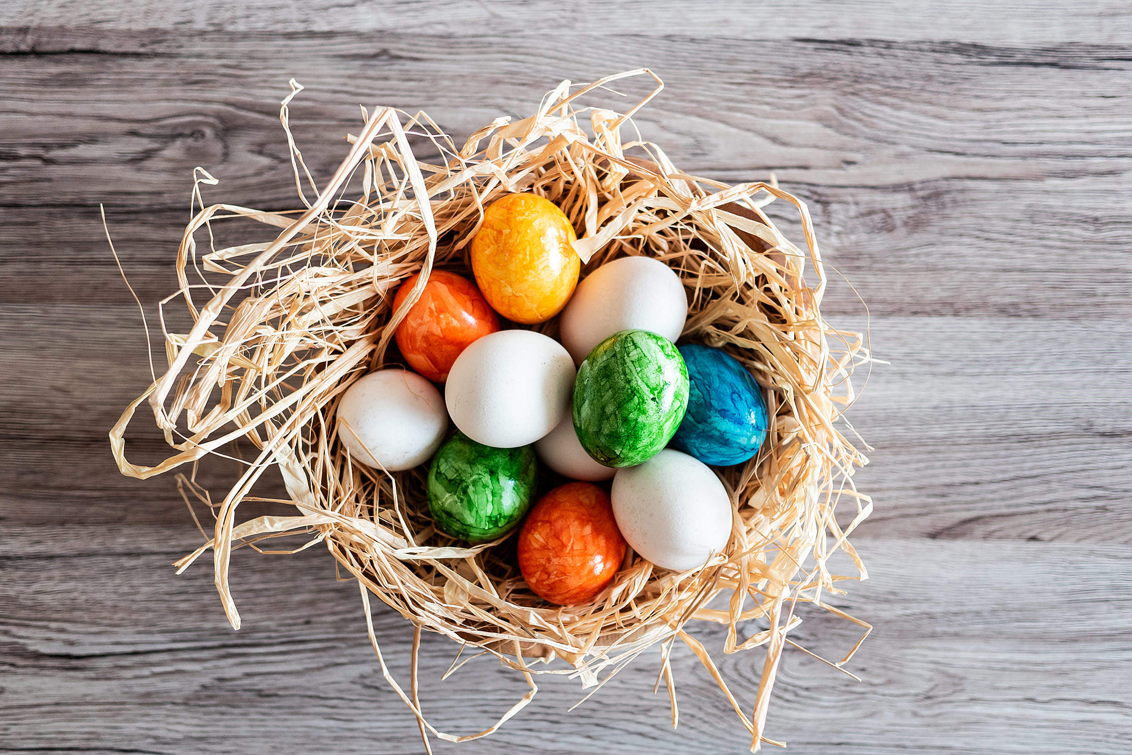 Basket Full of Perfect Easter eggs Free Stock Photo