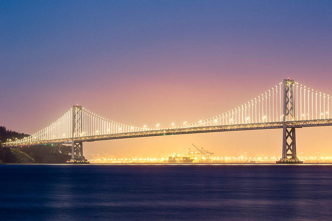 Download Bay Bridge in San Francisco in the Evening FREE Stock Photo
